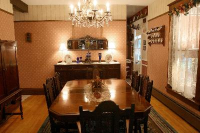 Enjoy a gourmet breakfast on dining room furniture original to the house.