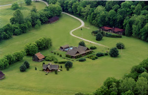 Fly-over view of Whisperwood Farm, home of Creekwalk Inn